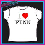 I LOVE HEART FINN  TSHIRT ALL SIZES & COLOURS